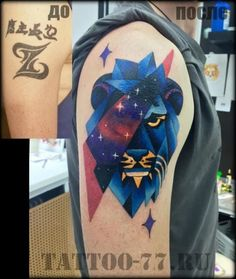 Geometric Lion Cover Up Tattoo by Tattoo-77