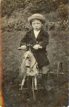 Boy on horse bike