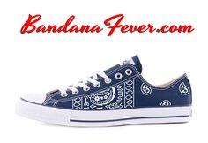 Custom White Bandana Converse Shoes Low Navy, FREE SHIPPING, #paisley, #converse, by Bandana Fever  #swag #love #paisley #shoesart #hypebeast #fashionshoes #sneakerporn #bandana #sneakerdesign