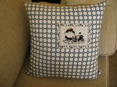 grey polka dot cushion with tiny embroidered vintage piece. Used to be in a frame. Horse and carriage under the Acropolis, Athens http://ada-countrylife.blogspot.com http://artsandcrafts.gr/el/user/ada-s-country-life/