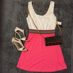 ️30%Off BundlesColor Block White Pink  Dress Light summer dress feature ivory netting sleeveless top and 100% pink polyester bottom skirt. As U Wish Dresses