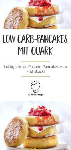 Fancy fluffy low carb pancakes with cottage cheese for breakfast? Then we recommend this recipe to you: With quark and stiff whipped egg whites, the pancakes are light and airy. You will not eat them differently! carb Fancy fluffy low carb pancakes with Keto Foods, Keto Snacks, Low Carb Recipes, Diet Recipes, Queijo Cottage, Aperitivos Keto, Cottage Cheese Pancakes, Low Carb Pancakes, Vanilla Pancakes