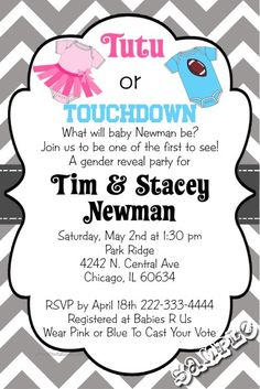 Gender reveal tutu or touchdown  baby shower invitations.  Design online, download and print immediately!