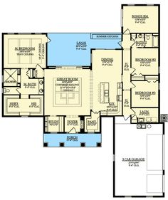 One Floor Country House Plan Floor Master Suite Bonus Room Butler Walkin Pantry CAD Available Corner Lot Country DenOfficeLibraryStudy Northwest PDF Split B. Ranch House Plans, New House Plans, Dream House Plans, House Floor Plans, The Plan, How To Plan, Plan Plan, D House, Story House