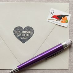 Stamp your heart out! Make your own save the dates - or add an extra special touch to your envelopes!  Your new stamp is made of High-quality, commercial-grade red rubber and perfectly mounted to a traditional wood block. Made to last for years!  You can use any color of ink your heart desires to match your favorite stationery. I love colorbox ink pads, you can add one to your order here... http://www.etsy.com/shop/chattypress?section_id=12323687  ••••••••••••••••••••...