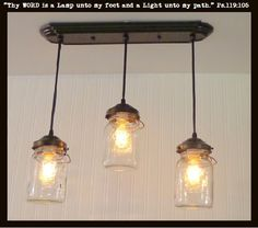 TheLampGoods - Mason Jar CHANDELIER Light Rectangular Quart Trio , $185.00