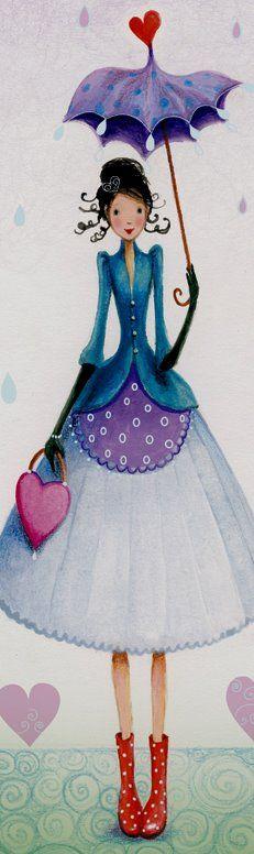 quenalbertini: Rainy day by Mila Marquis Umbrella Art, Under My Umbrella, Mike Mitchell, Art Carte, Art Et Illustration, Marquis, Whimsical Art, Belle Photo, Cute Art
