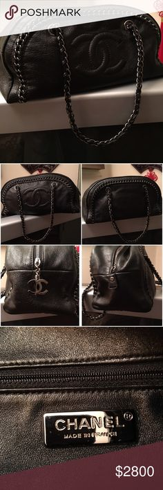 Chanel bowler bag Black calf leather with silver tone hardware, CC monogram zip pull, interwoven chain around detail,  CC monogram to front, interwoven chain and leather dual top shoulder straps. leather interior with one zip pocket. Excellent condition- NO Scratch/scuffs on leather inside and outside..superficial scratch on chain. With Chanel authenticity card. **will accept reasonable offer** CHANEL Bags Shoulder Bags