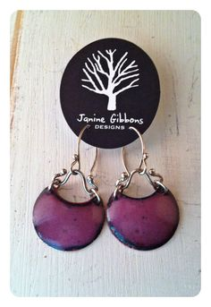 Orchid Crescent Moon kiln fired enamels by JanineGibbonsDesigns