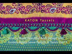 How to Make Arch Crochet with golden beads Saree Tassels (Part - Tamil Saree Kuchu New Designs, Saree Tassels Designs, Kali Mata, Smocking Tutorial, Chrochet, Arch, Make It Yourself, Beads, Boutique