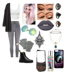 """""""💀"""" by lacie-clair on Polyvore featuring River Island, Dr. Martens, Topshop, Pinrose, Lime Crime, Tattify and SIJJL"""