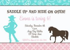 free printable horse party invites  horse party invitations, invitation samples