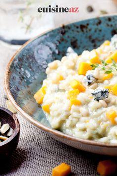 Un recette de risotto avec un fromage français : le risotto au bleu d'Auvergne. #recette#cuisine#risotto#fromage #bleudauvergne Risotto, French Cheese, Meal, Recipes