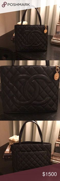 Chanel tote bag %100 authentic comes with cards and dust bag...Caviar black medallion tote classic Chanel bag CHANEL Bags Totes