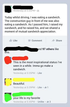 Mutual sandwich appreciation...it's what the world needs more of! Haha
