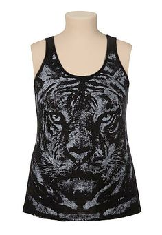 Embellished tiger graphic plus size tank (original price, $29) available at #Maurices
