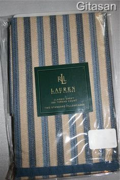 Ralph Lauren Standard Pillow Case Set 2 Newburgh Stripe Retired NIP Bedroom Bed #RalphLauren #Patterned