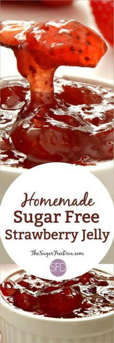 Homemade Sugar Free Strawberry Jelly- wow this recipe is so easy to make and it is sugar free! Homemade Sugar Free Strawberry Jelly- wow this recipe is so easy to make and it is sugar free! Sugar Free Deserts, Sugar Free Sweets, Sugar Free Recipes, Jam Recipes, Canning Recipes, Dessert Recipes, Recipies, Diet Recipes, Breakfast Recipes