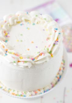 Classic Vanilla Bean White Layer Cake - a soft, fluffy and delicious vanilla cake recipe perfect for any birthday celebration.