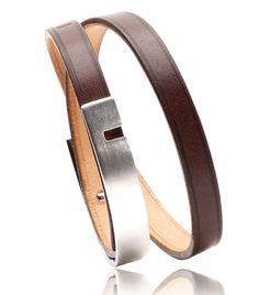 Bracelet U-TURN TWICE metal argente chocolat - BIjoux Ursul pour homme