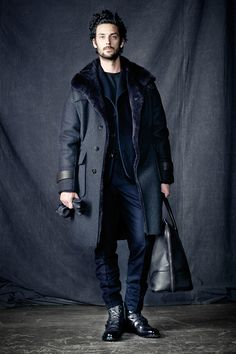 Grey Wool Topcoat with Faux Fur Collar, by Berluti. Men's Fall Winter Fashion.