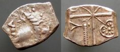 Ancient Coins - Silver Drachm with Aquatic leaves of the RUTENI tribe of Gaul: Female head / Cross dividing flan into four cantons: leaf in the 1st, 2nd and 4th districts, ax in the 3rd district.