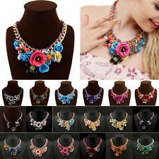 Charm Jewelry Flower Crystal Pendant Braid Chain Statement Bib Collar Necklace