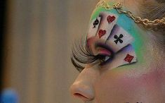 Pinterest. This makeup would be for the Queen of Hearts because it shows the cards around her eyes. It's elegant and extravagant just like the amount of power she holds over her people.