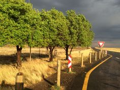 An early morning storm with a weak sunrise causes the colours to pop as this does, on a quiet road in the Karoo