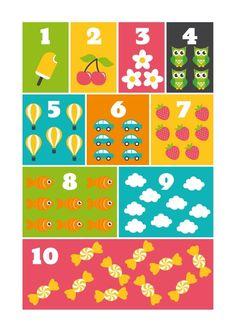 Poster Cijfers kleur A3