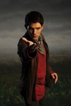 """Merlin - But the reason why I like this picture so much is because it reminds me of the ninth doctor telling Rose to run.  Or it seems like he's saying, """"Come away with me.""""  Either way."""