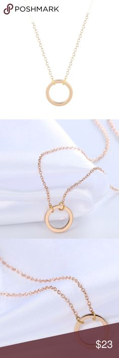 Simple circle gold pendant necklace Pretty gold necklace, great for everyday wear!  Bundle for discount! Jewelry Necklaces