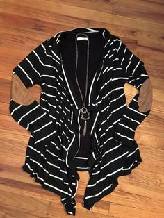 Striped elbow patch cardigan-plus   Country Faith Boutique