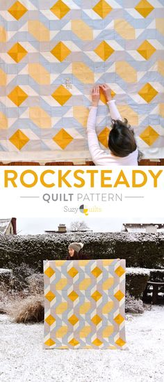 Yellow and Gray Rocksteady Modern Quilt Pattern download for sale. A great beginner quilt. This pattern is simple enough to be a perfect first quilt pattern. DIY sewing gifts and crafts!