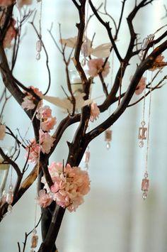 Pink flower branch centerpieces