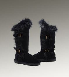 UGG Tall Fox Fur 1984 Black Boots