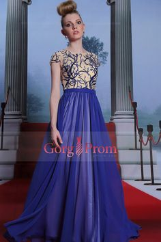 2015 Sicily Style Scoop A Line Chiffon Prom Dress