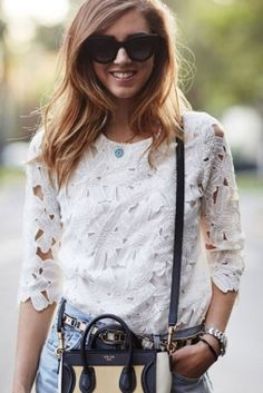SheIn offers White Half Sleeve Floral Crochet Blouse & more to fit your fashionable needs. Tee Shirt Dentelle, Looks Style, My Style, Estilo Cool, Look Fashion, Womens Fashion, Street Fashion, Fashion Sale, Luxury Fashion