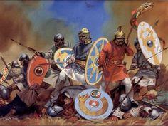 GODOS: Os visigodos foram godos pertencentes aos povos germânicos orientais. Surgieran de grupos góticos anteriores (possivelmente dos tervingios). Em 376 conquistaram a Dácia, província romana. Em 378 derrotam os romanos na batalha de Adrianópolis. Sob Alarico I, em 410, invadem a Itália e saqueiam Roma. Em 418 começam a governar a oeste, como federados do Império Romano, criando um grande reino que ia da Hispânia até o rio Loire, com capital em Tolosa (Toulouse). Com a derrota para…