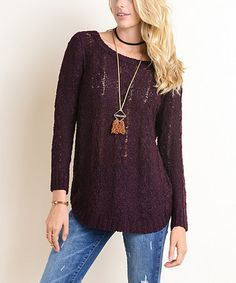 Another great find on #zulily! Eggplant Cable-Knit Sweater #zulilyfinds