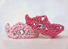 """Crochet crown tiara pattern Pattern (newborn: 14"""") Chain 41. R1. HDC in 2nd chain from hook and continue across. R2. HDC Across R3. HDC, DC, TC-Ch2-TC in same stitch, DC, HDC, Slip stitch in the next 2 stitches, repeat to end and fasten off."""