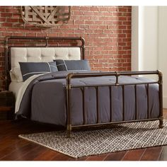 Soho Upholstered Iron Bed in Brown / Copper by Largo Furniture | Humble Abode