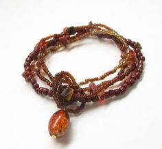 Amber Bracelet  Layered Beaded Elastic Bracelet  by BijiJewelry