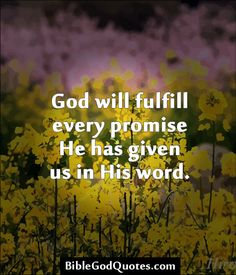 ✞ ✟ BibleGodQuotes.com ✟ ✞ God will fulfill every promise He has given us in His word.