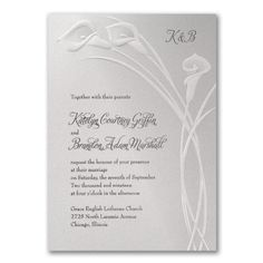 A #modern look for #traditional #callalilies! They're #embossed in #pearl on a #white #shimmer #weddinginvitation. Choose your ink color for style. #Wedding  http://foreverfriendsfinestationeryandfavors.com   Forever Friends   Old Bethpage, NY