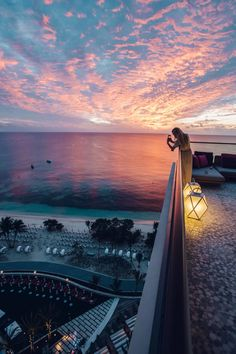 Amazing Caribbean sunset from the penthouse suite at Kimpton Seafire Resort + Spa in Grand Cayman. [The Blonde blogs]