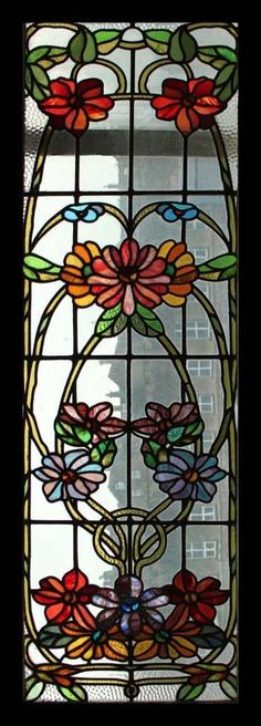 Art Nouveau Floral Stained Glass Window