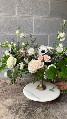 Floral design video featuring on our our reception table centerpieces. Love this mix of pink, navy and white shades for a wedding color palette! Green Centerpieces, Wedding Centerpieces, Flower Bouquet Wedding, Floral Wedding, Gerbera Wedding, Faux Flowers, Silk Flowers, Vintage Flower Arrangements, Floral Arch