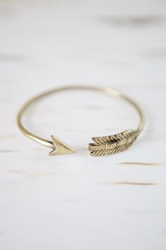 Feather & Arrow Gold Bangle