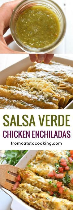 Covered in an easy Homemade Tomatillo Salsa Verde, these baked Mexican Salsa Verde Chicken Enchiladas are great for dinner and make tasty leftovers that everyone will be excited to eat. It's one of my favorite recipes and is also gluten free! #JamiesGlutenfreerecipes